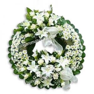Bunga krans bulat rumah duka abadi